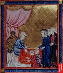 A 14th-century Hebrew Old Testament manuscript's illustration of Jacob crossing his arms to bless Ephraim ahead of Manasseh