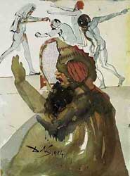 A depiction of Joseph's brothers in Egypt by Salvador Dalí (1964-1967)