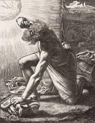 A depiction by British artist Frederick Sandys (1829-1904) of Jacob hearing God's voice sending him to or while at Bethel (Genesis 35:1-15), engraved by the Dalziel Brothers and published in 1881