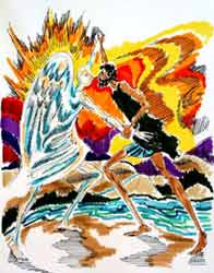 American Jewish artist Phillip Ratner's depiction of Isaac wrestling with God as told in Genesis 32:22-32