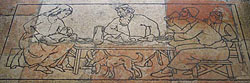 From the floor in front of tower oratory altar at the Jerusalem YMCA, an unidentified artist's etching of dogs eating the children's crumbs, referring to Mark 7:28