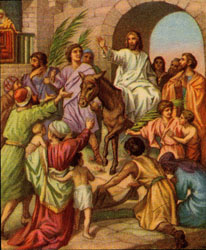 An unidentified artist's depiction of Jesus' entry into Jerusalem as described in Mark 11:1-11